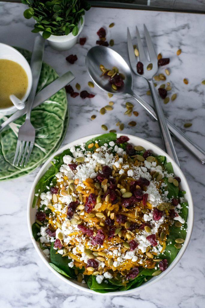 Spiral Butternut Squash Spinach Salad