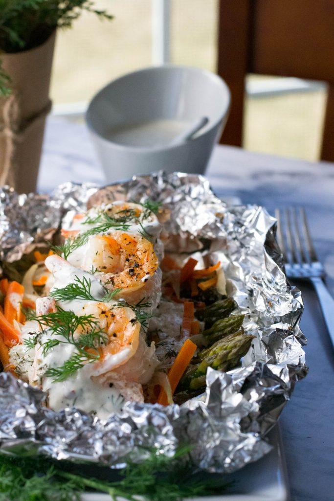 Creamy Dill Salmon Shrimp Foil Packs