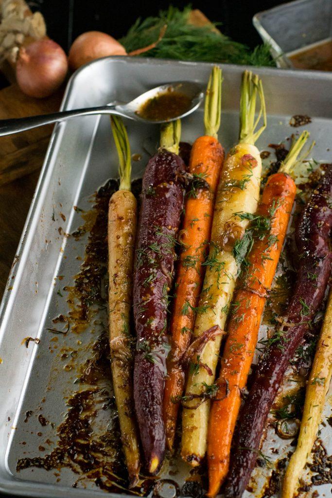 Maple Dijon Dill Roasted Carrots