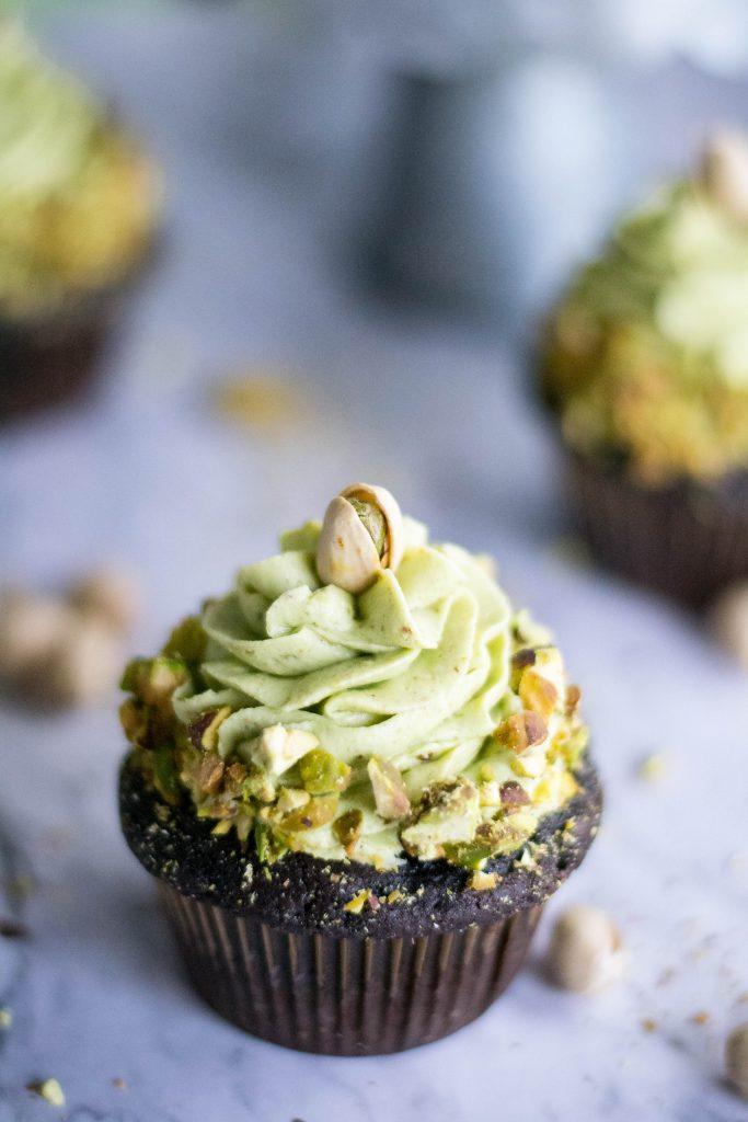 Dark Chocolate Pistachio Cupcakes