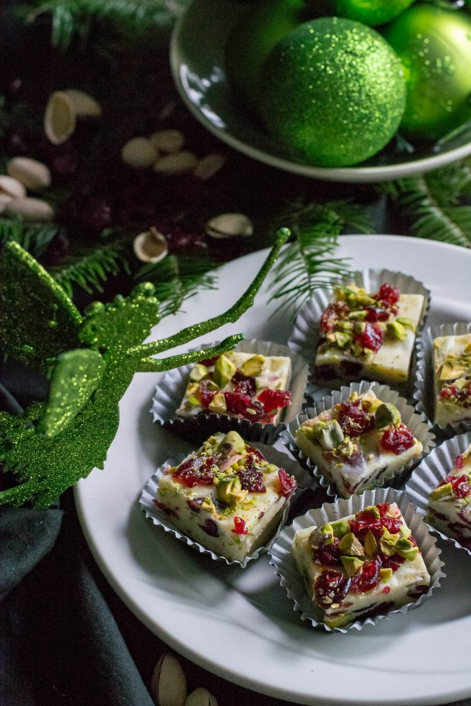 White Chocolate Orange Cranberry Pistachio Fudge