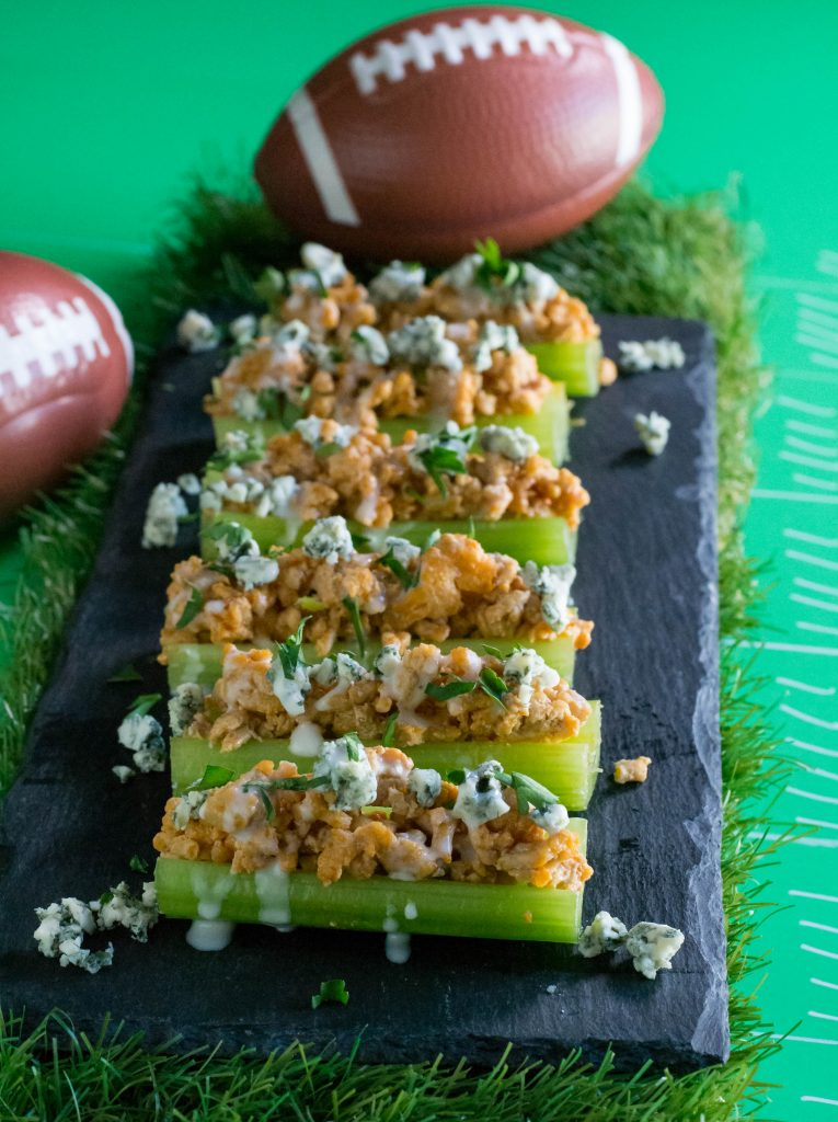Bufflao Chicken Stuffed Celery Sticks