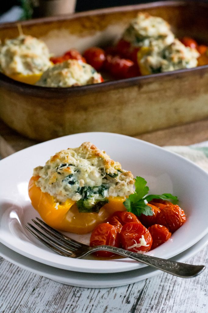 Keto Chicken Ricotta Stuffed Peppers