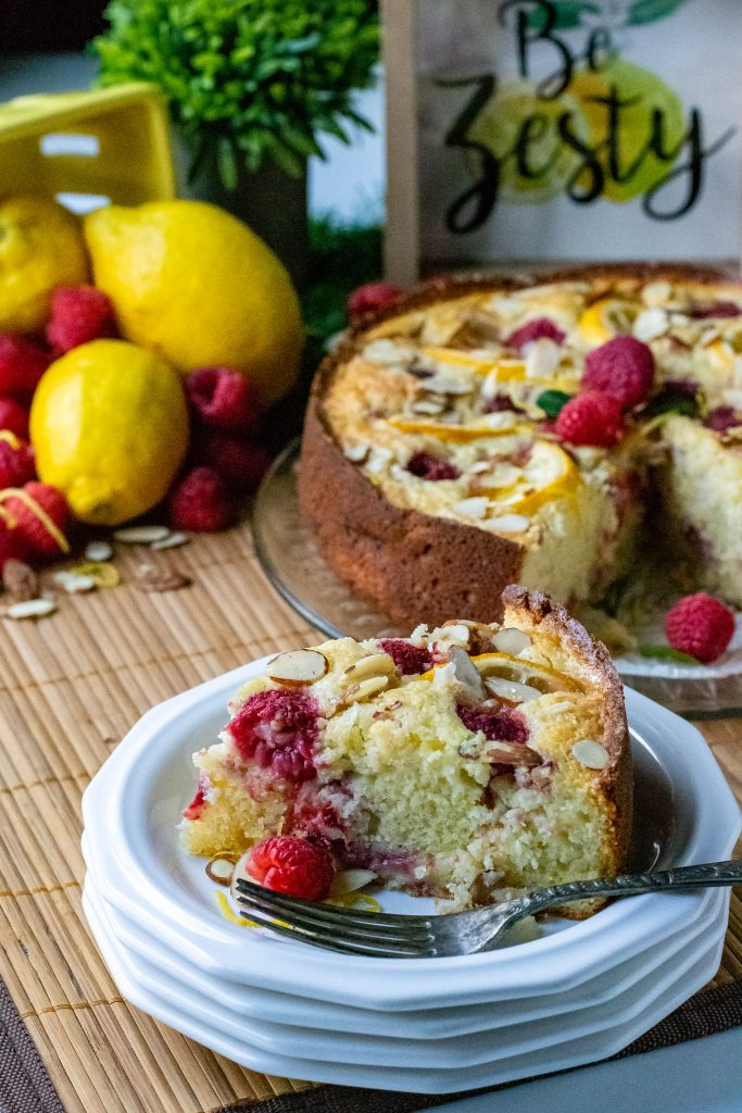 Raspberry Lemon Almond Ricotta Cake