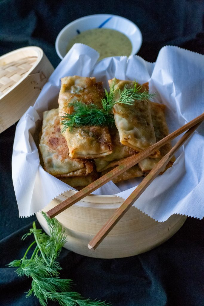 Spring Chicken Pot Pie Egg Roll