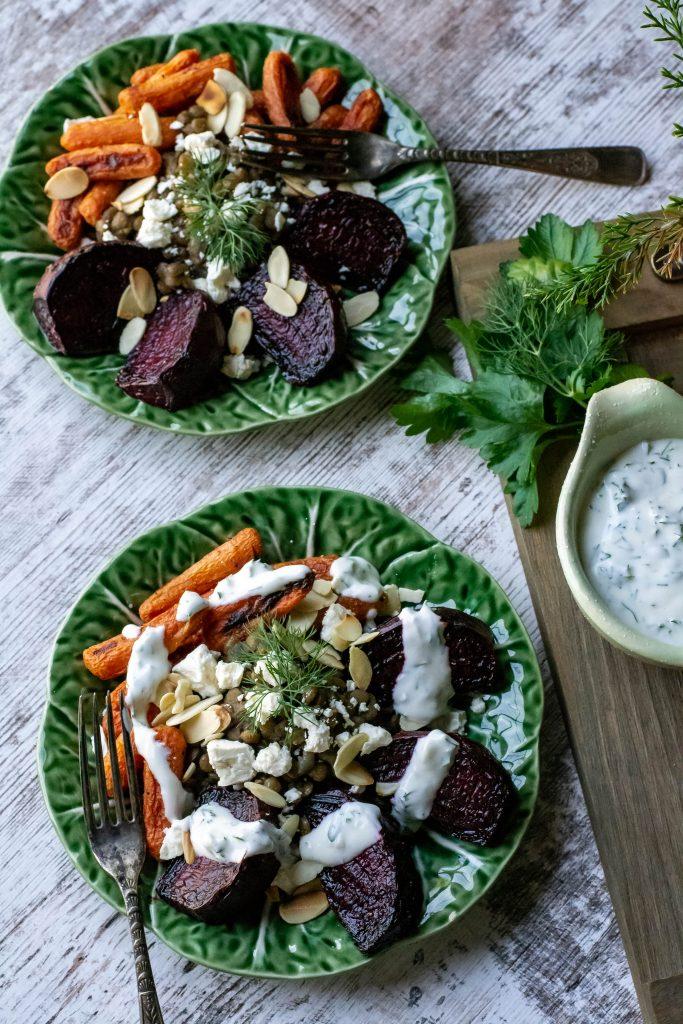 Roasted Veggie Lentil Salad